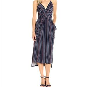 BCBG Blue and maroon striped halter dress